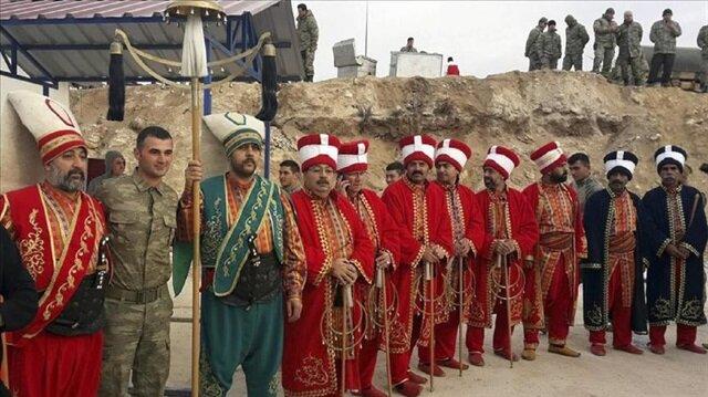 Ottoman military band performs at Turkey-Syria border