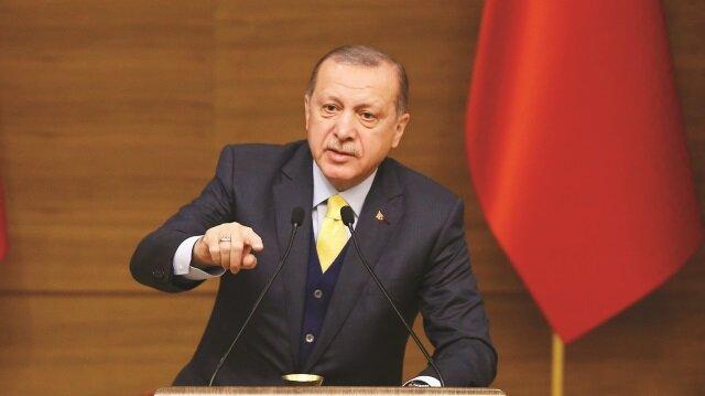 Cumhurbaşkanı Tayyip Erdoğan, Zeytin Dalı Harekatı ile Münbiç'ten başlayarak sınırın tamamen temizleneceği mesajı verdi