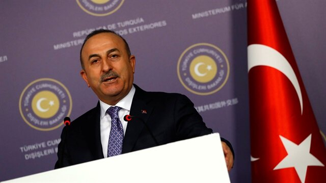 Turkish FM Çavuşoğlu speaks during a news conference in Istanbul