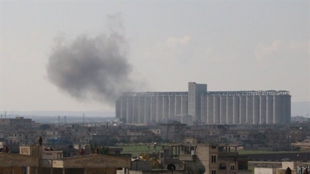 Smoke rises after an airstrike over Saraqib town of Idlib in Syria on January 28, 2018.