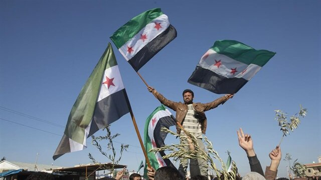 Locals in Syria's Azaz show support for Operation Olive Branch