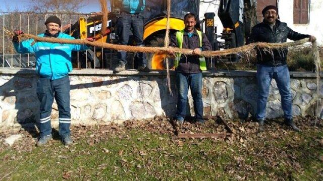 İçme suyu hattından 5 metrelik ağaç kökü çıktı
