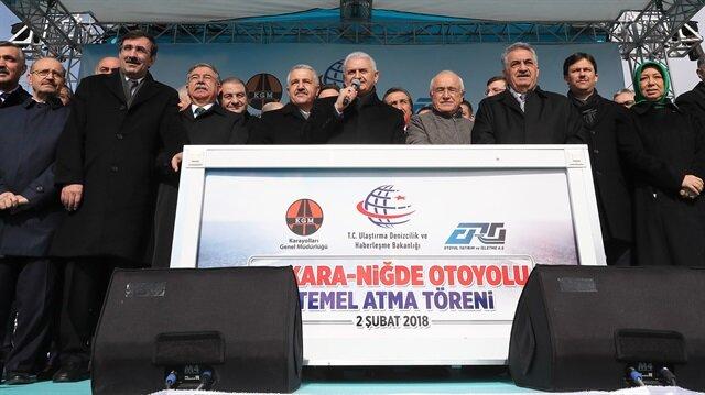 Başbakan Ankara-Niğde otoyolunun temel atma töreninde konuştu.