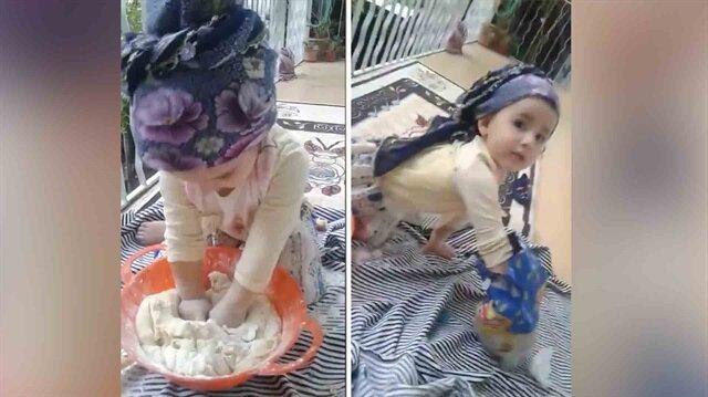 Hamur yoğuran sevimli ufaklığın görüntüleri tıklanma rekorları kırdı