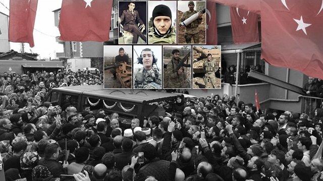 Zeytin Dalı Harekatında bugüne kadar 13 kahraman askerimiz şehit düştü.