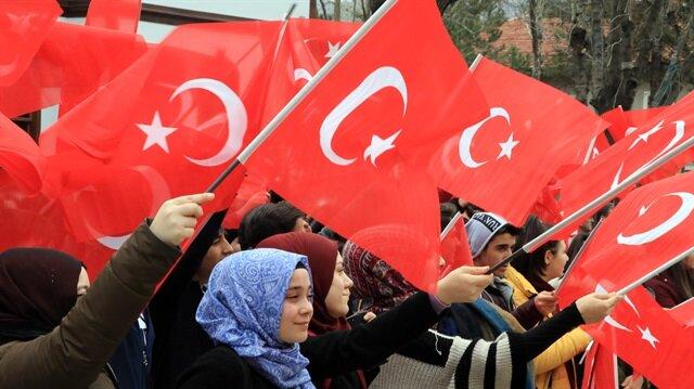 Zeytin Dalı Harekatı'na destek mitinginde şehitler için dua edildi