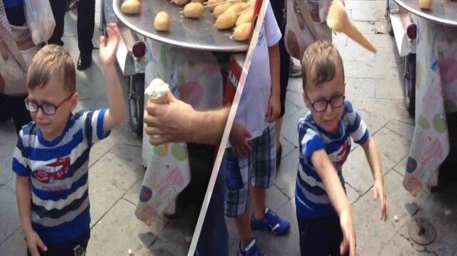 Maraş dondurmacısı ufaklığı sinirden çılgına çevirdi