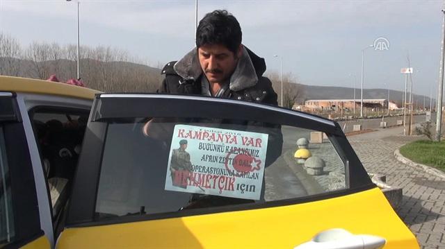 Taksiciden Mehmetçiğe destek