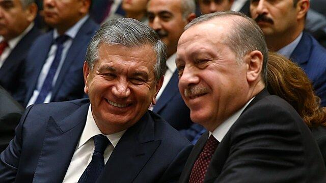 Uzbekistan's Shavkat Mirziyoyev and Turkey's Recep Tayyip Erdoğan