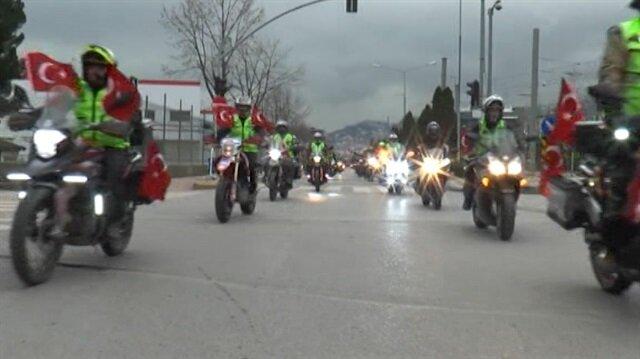 Motosiklet tutkunlarından Afrin Operasyonu'na anlamlı destek