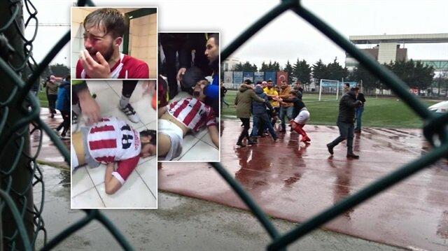 Futbolcuların feci şekilde darp edildiği görüldü.