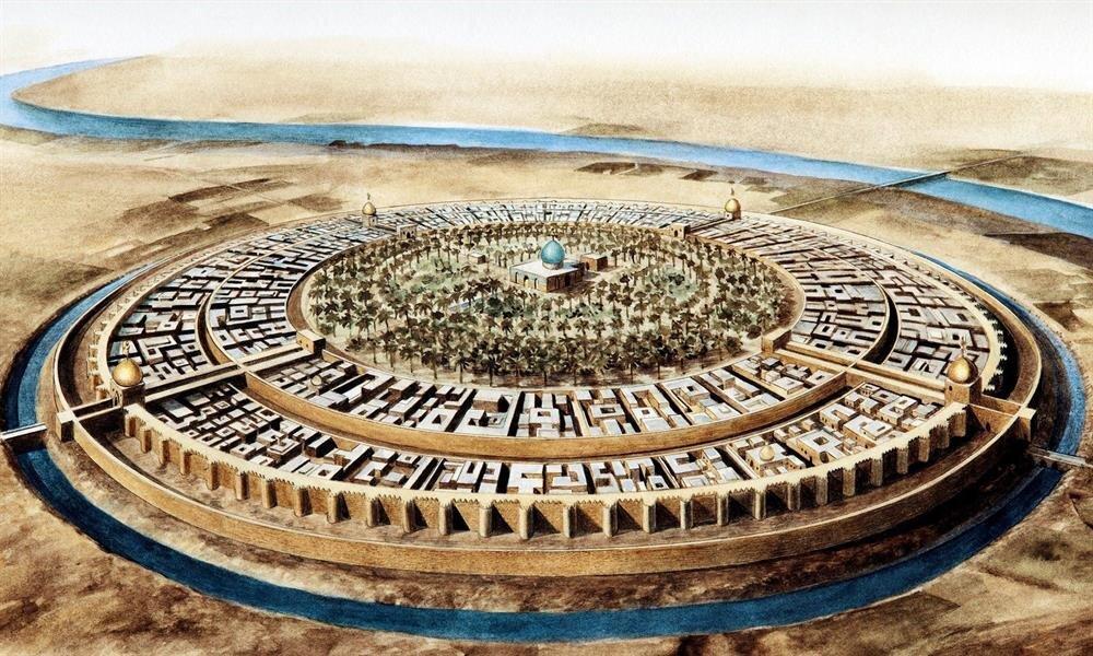 Bağdat'ın ilk kurulduğu dönemlerdeki şehir planını tasvir eden bir çizim.