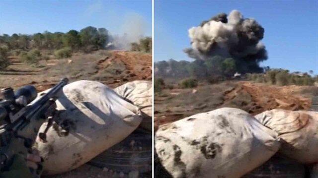 YPG cephaneliği keskin nişancı tüfeğiyle böyle havaya uçuruldu