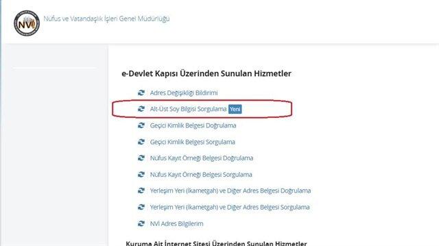e-devlet soy ağacı sorgulama ekranına haberimiz üzerinden ulaşabilirsiniz.