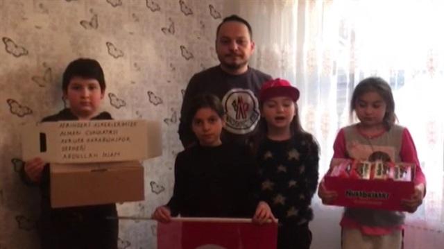 Gurbetçi miniklerden Mehmetçi'e destek
