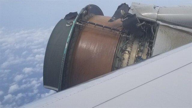 San Francisco'dan Hawaii'ye giden uçağın motoru parçalanmaya başladı.