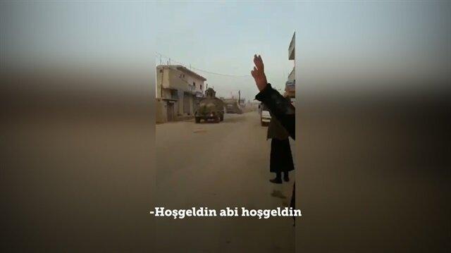 TSK konvoyu Suriye'de böyle karşılandı!