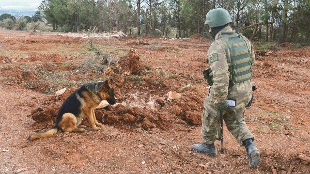Burseya Dağı'nda örgüt mensuplarınca tuzaklanan patlayıcılar, uzman ekiplerce temizleniyor.