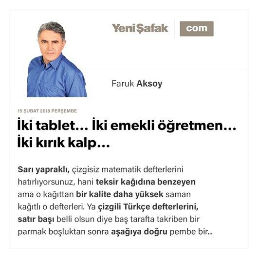 İki tablet… İki emekli öğretmen… İki kırık kalp…