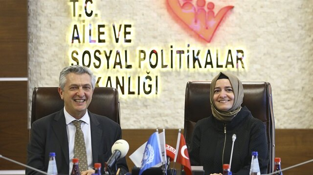 Aile ve Sosyal Politikalar Bakanı Kaya, BM Mülteciler Yüksek Komiseri Grandi'yi kabul etti