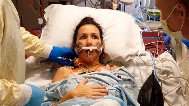 Akciğer nakli sonrası ilk defa nefes alan kadının o anları