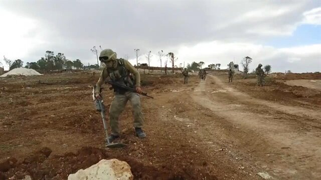 Turkish army clears landmines on Afrin's Mt. Bursaya