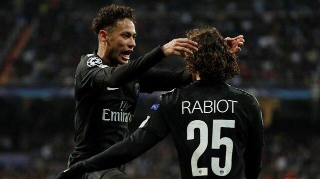 Neymar ve Rabiot'un gol sevinci.