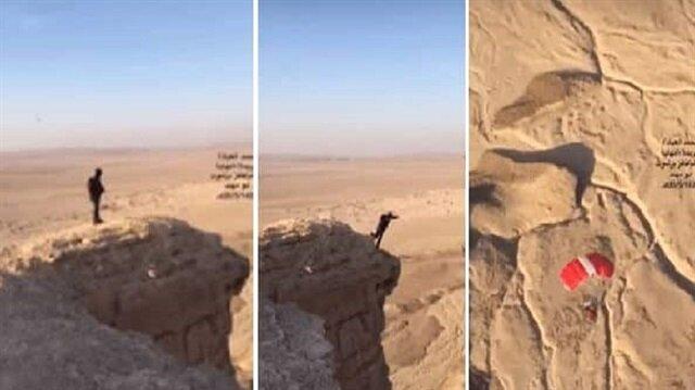 لُقبت بـ نهاية العالم.. شاهد: قفزة مثيرة لأحد الهواة من أخطر القمم الجبلية شمال الرياض!