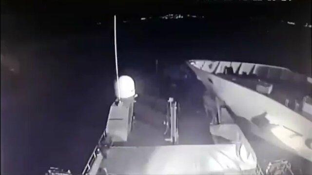 Sınırımızı geçen Yunan gemisini ezip geçen Türk gemisi kamerada!