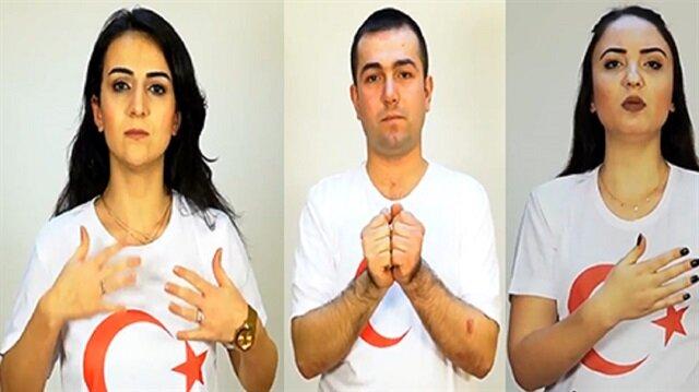 İşitme engellilerden Zeytin Dalı Harekatı'na videolu destek