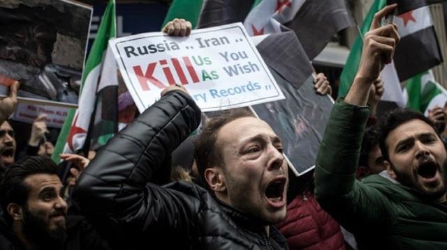 Doğu Guta saldırıları Londra'da protesto edildi