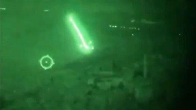 Atak helikopterin gece operasyonu kamerada