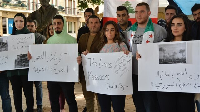 Beyrut'ta Doğu Guta'ya destek gösterisi