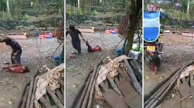 Çin'de insanlıktan nasibini almamış baba!