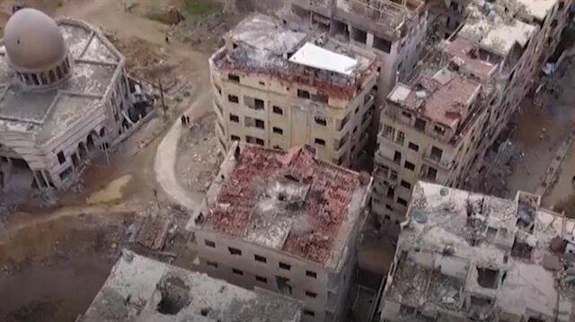 Drone footage reveals skeleton of Eastern Ghouta