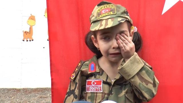 Afrin'deki babasına seslenirken gözyaşlarına boğuldu