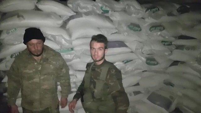 Afrin'de PKK'nın şeker karaborsası ele geçirildi