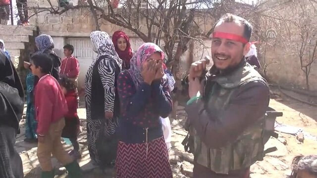 Afrin town residents reunited with relatives fighting alongside FSA