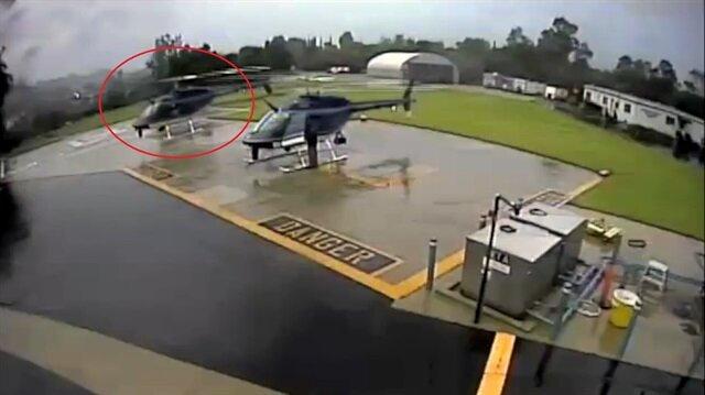 Manevra yaparken yerdeki helikoptere çarpan pilot