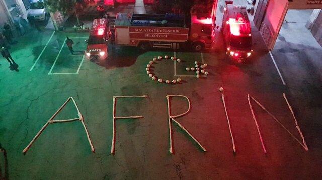 Malatya itfaiyesinden Zeytin Dalı Harekatı'na destek mesajı.