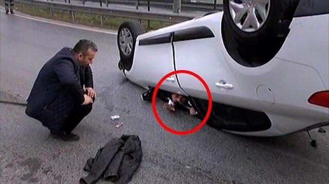 Kadıköy'de ilginç kaza, inanılmaz kurtuluş