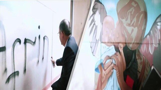 Mehmet Özhaseki, sprey boyayı eline alıp grafiti yaptı