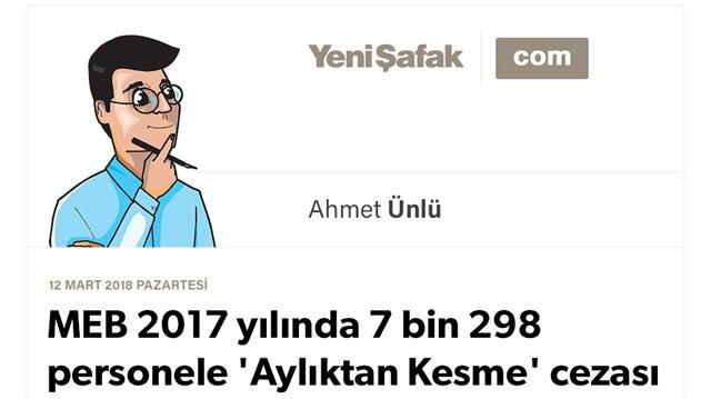 MEB 2017 yılında 7 bin 298 personele 'Aylıktan Kesme' cezası vermiş