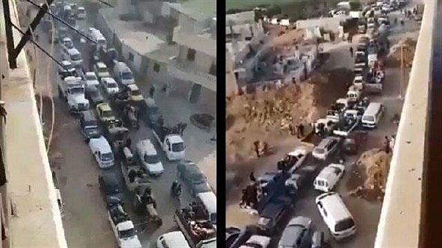 Afrin civilians evacuate the city center