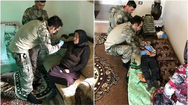 Turkish soldiers take off boots before entering civilian homes, distribute medicines in recently-liberated Hasirki village
