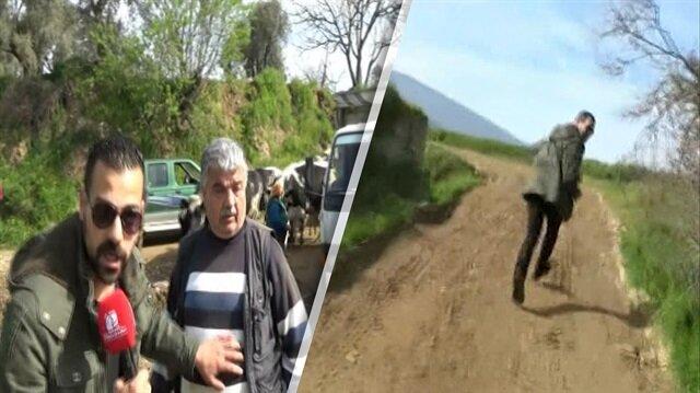 Karşısında inek sürüsü gören muhabir röportajı bırakıp kaçtı