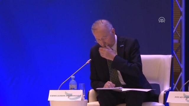 Ekmeleddin İhsanoğlu'nun rahatsızlandığı anlar kamerada