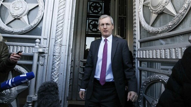 British Ambassador to Russia Laurie Bristow leaves the Russian Foreign Ministry in Moscow Russia