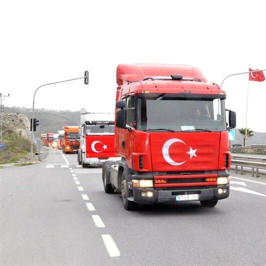 Mehmetçiğe konvoylu ve mehterli destek