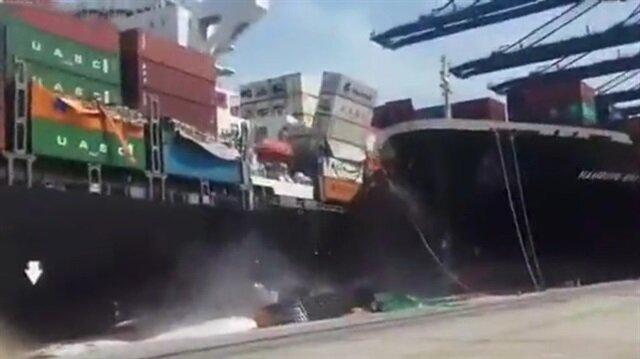 Yük gemilerinin çarpışması saniye saniye görüntülendi!